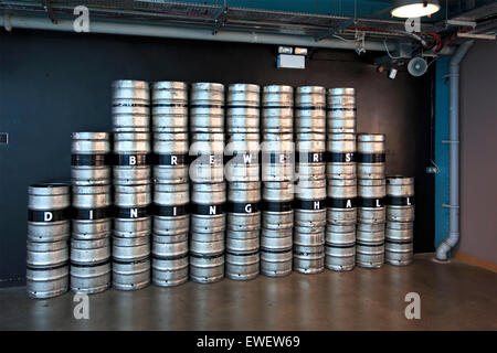 Barrels of beer in Guinness Storehouse - Stock Photo
