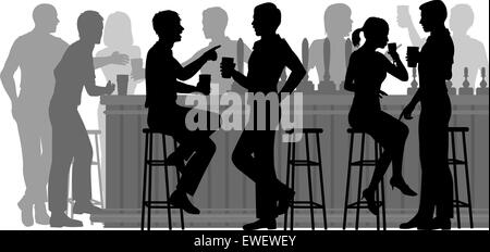 EPS8 editable vector cutout illustration of people drinking in a busy bar with all figures as separate objects - Stock Photo