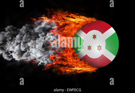Concept of speed - Flag with a trail of fire and smoke - Burundi - Stock Photo