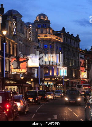 Shaftesbury Avenue Theatres in London West End. - Stock Photo