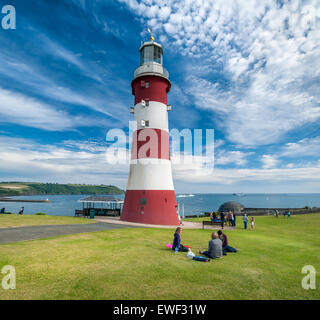 Smeatons Tower Lighthouse on the seafront at Plymouth Hoe on the south coast of Devon, England. - Stock Photo