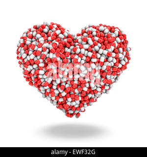 Heart pills, 3D render of medicine capsules forming heart - Stock Photo