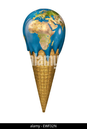 3D render of Earth ice cream cone - Stock Photo