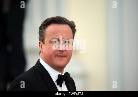 British Prime Minister David Cameron arrives to a state banquet in honor of the British Queen at Bellevue Palace in Berlin,Germany, 24 June 2015. The Queen and her husband are on their fifth state visit to Germany. Photo: KAYNIETFELD/dpa