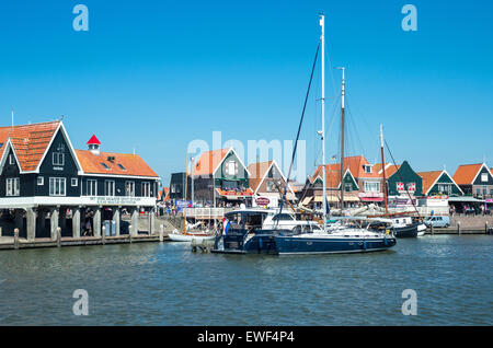 Amsterdam, Waterland district, Volendam, the harbour in front of the town center - Stock Photo