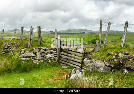 Looking out toward Roughtor and Brown Willy the highest point in Cornwall from hills near St Breward on Bodmin Moor - Stock Photo