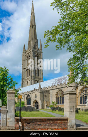 St Wulfram's Church, Grantham - The Parish Church of Grantham Lincolnshire - One of the tallest spire on a church - Stock Photo