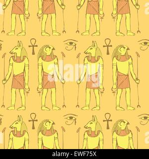 Sketch Egyptian gods in vintage style, vector seamless pattern - Stock Photo