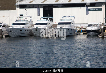 Fairline Luxury Motor Yachts, Ipswich, Suffolk, England, UK - Stock Photo