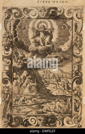 Ovid (Publius Ovidius Naso) (43 BC-17 AD). Latin poet. Metamorphoses 2-8 AD. Book I. Engraving depicting The Creation, The Battle of the Giants, Decaulion and Pyrrha and Apollo and the serpent. Italian edition. Venice, 1584. Stock Photo