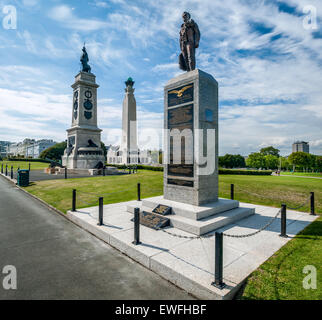 The war memorials situated centrally on The Hoe facing towards Plymouth Sound. - Stock Photo