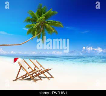 Tropical island on Christmas. - Stock Photo