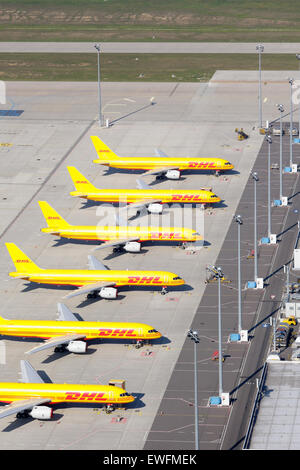Schkeuditz, Germany, Aircraft at DHL air freight hub at Leipzig-Halle Airport - Stock Photo