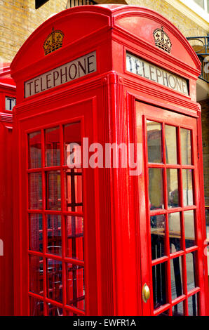 LONDON - MAY 13 2015:One K2 kiosk Red telephone box in London, UK. The K2 kiosk was Britain's first red Telephone - Stock Photo