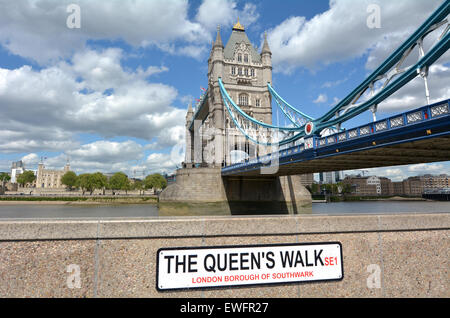 The Tower Bridge spanning over River Thames with the Tower of London in the background as view from   the Queen's - Stock Photo