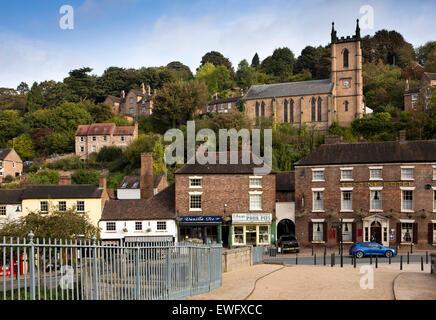 UK, England, Shropshire, Ironbridge, village from Adrian Darby's historic 1781 iron bridge over the River Severn - Stock Photo