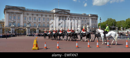 LONDON - MAY 13 2015:Changing the Guards ceremony at Buckingham Palace. Buckingham Palace has been the official - Stock Photo