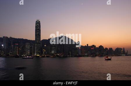 Hong Kong, China, overlooking Hong Kong Iceland at dusk - Stock Photo