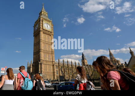 LONDON - MAY 14 2015:Big Ben clock tower.The tower has become one of the most prominent symbols of the United Kingdom. - Stock Photo