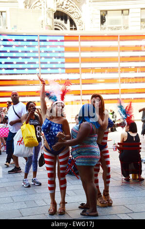 stars and stripes body painted women times square new york usa - Stock Photo