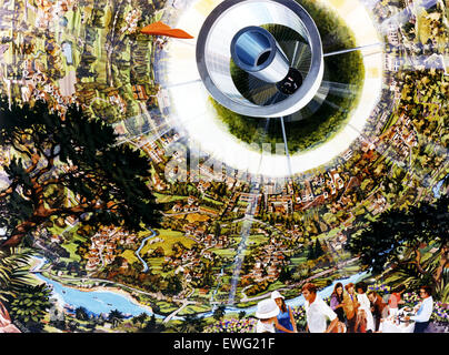 Space Colony Art from the 1970s - Stock Photo