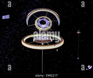 Space Colony Art from the 1970s NASA Space Art Space Colonization Space Colony Space Colony Illustration illustration - Stock Photo