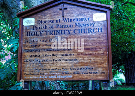 Holy Trinity Church notice board. - Stock Photo