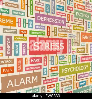 STRESS. Concept related words in tag cloud. Conceptual info-text graphic. Word collage. - Stock Photo