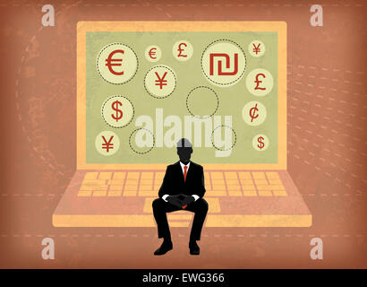 Businessman sitting on laptop screen showing global currency symbols - Stock Photo