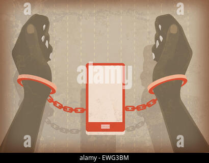 Illustration image of woman hands locked in handcuffs with mobile phone - Stock Photo