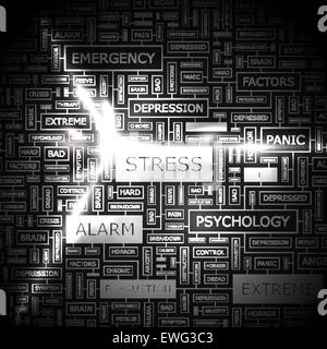STRESS. Background concept wordcloud illustration. Print concept word cloud. Graphic collage. - Stock Photo