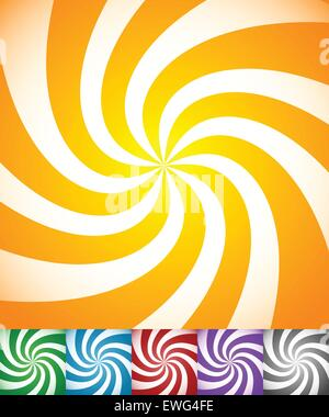 Colorful background set with swirling, rotating, twirling stripes, lines. Bright orange, green, blue, red, purple - Stock Photo