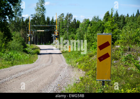 Traffic sign with warning för the railroad level crossing in a swedish summer landscape - Stock Photo