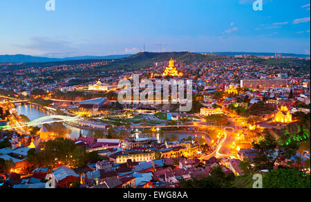 Panoramic view of Tbilisi in the twilight. Georgia - Stock Photo