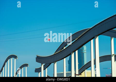 The port in Barcelona with the cable car in the background - Stock Photo