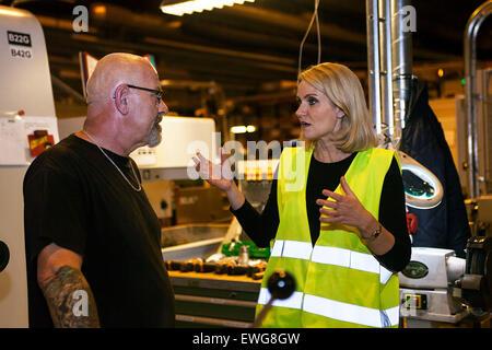 Copenhagen, Denmark, June 17th, 2015: Danish PM, Helle Thorning-Schmidt (Soc.dem), visits late Wednesday evening - Stock Photo