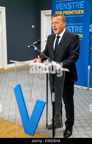 Copenhagen, Denmark, June 17th, 2015: Danish opposition leader, Lars Loekke Rasmussen (Venstre, read: The Liberal's) - Stock Photo