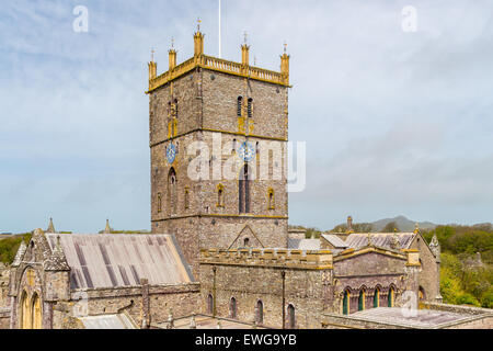 The 12th century St David's Cathedral Pembrokeshire Wales UK Europe - Stock Photo