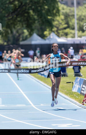 Hiwot Ayalew (ETH) winning the Women's 3000m Steeplechase at the 2015 Adidas NYC Diamond League Grand Prix - Stock Photo