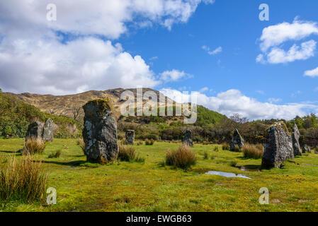 Prehistoric Stone Circle, Lochbuie, Isle of Mull, Hebrides, Argyll and Bute, Scotland - Stock Photo