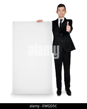 Isolated business man with empty board show ok sign - Stock Photo
