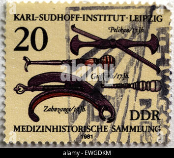 June 20, 2015 - GERMANY- CIRCA 1981: Stamp printed in Germany shows 18th cent, History medical instruments, Leipzig, Karl Sudhoff Institute © Igor Golovniov/ZUMA Wire/Alamy Live News