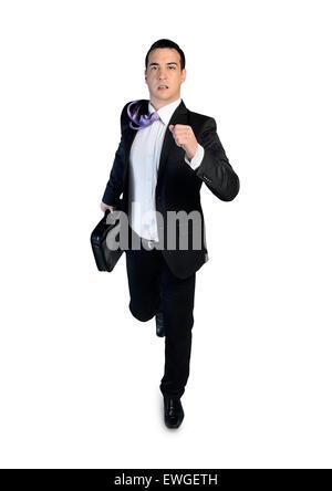 Isolated business man running away - Stock Photo