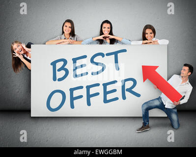 Best offer word writing on white banner - Stock Photo
