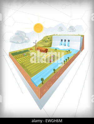 3D Design of dam and irrigation project on white background - Stock Photo