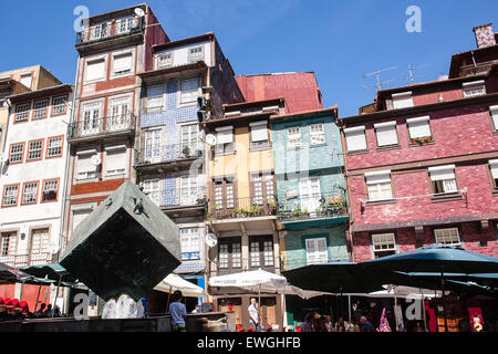 Cube Statue Tourists And Tiles On Houses At Ribeira Square Praca Da Stock Photo Royalty Free