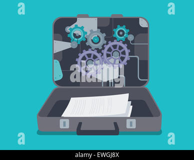 Confidential documents in briefcase - Stock Photo