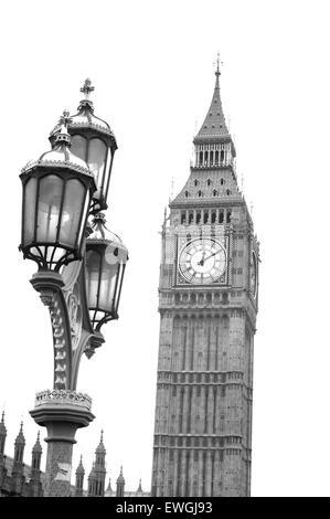 Lamp post and Big Ben Westminster, London, UK - Stock Photo