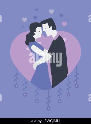 Couple romancing in heart shape - Stock Photo