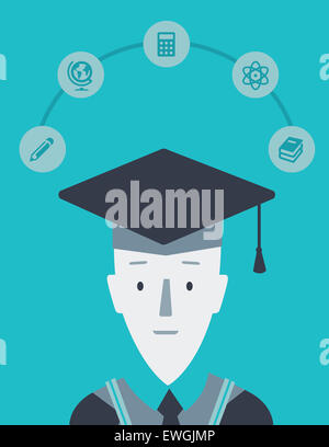 Portrait of college boy with mortar board on successful completion of graduation - Stock Photo